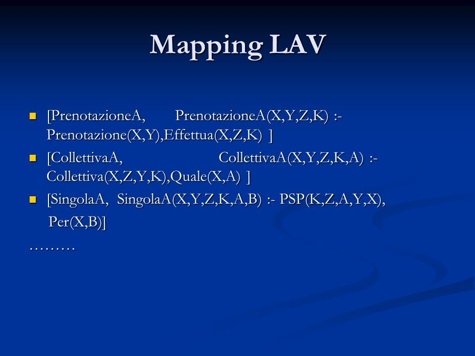 Mapping LAV [PrenotazioneA, PrenotazioneA(X,Y,Z,K) :- Prenotazione(X,Y),Effettua(X,Z,K) ]
